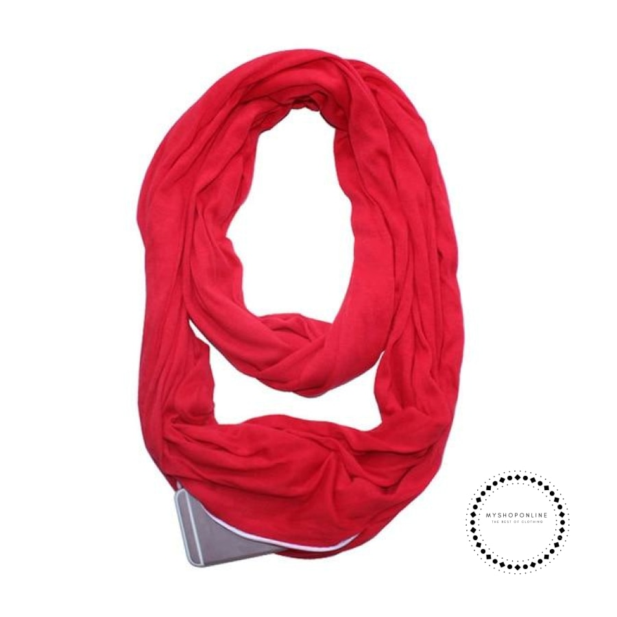 Convertible Infinity Scarf With Pocket Pattern Zipper All-Match Fashion Women Scarves Solid Red