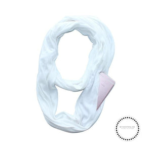 Convertible Infinity Scarf With Pocket Pattern Zipper All-Match Fashion Women Scarves Solid White