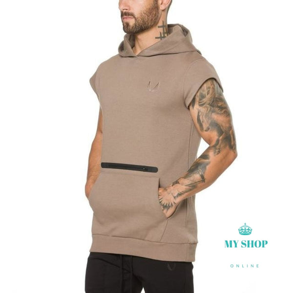 Cotton Bodybuilding Sleeveless Hoodie - myshoponline.com