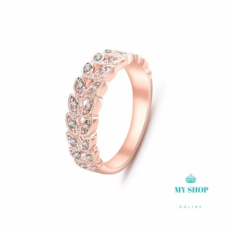 Crystal Wedding Ring Rose Gold Color - myshoponline.com