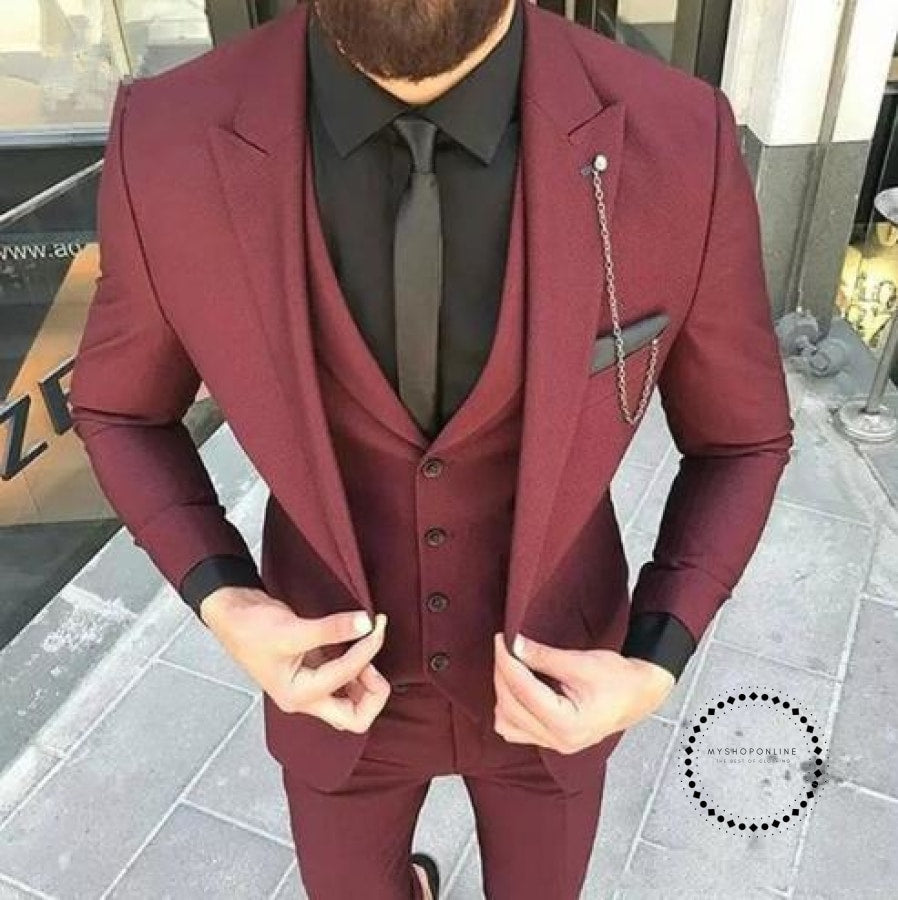 Custom Made Wine Red Slim Fit Wedding Mens Suit Prom Suits