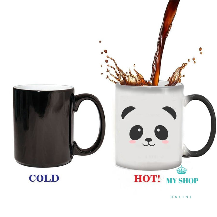 cute panda Mug Heat Reveal Mug Ceramic Color Changing Coffee Mugs Magic Tea Cup Mug - myshoponline.com
