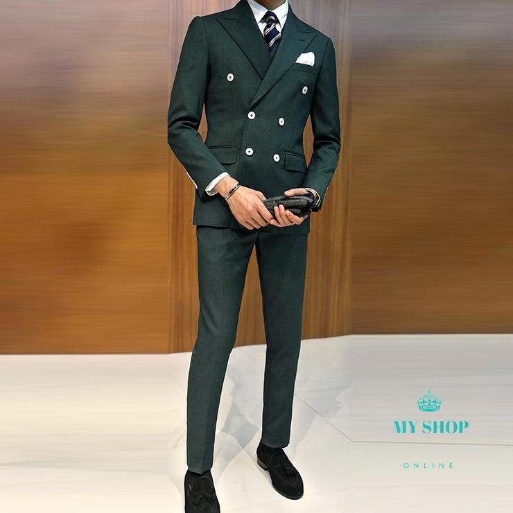 Dark Green Business Suit Groom Slim Fit for Men Wedding Suit 3 Pcs(Jacket+Vest+Pants ) Blazer Men Suit - myshoponline.com