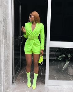 Women Suits Office Sets Fluorescence Neon Green Suit Women Crop Top And Pant Suits For Women Blazer Set