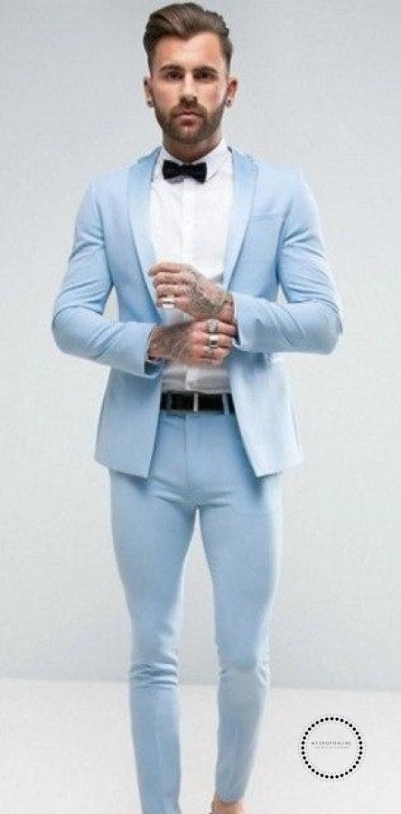 Designs Italian Light Blue Men Suit Slim Fit 2 Piece Groom Tuxedo Fashion Prom Blazer Terno Masculino - myshoponline.com