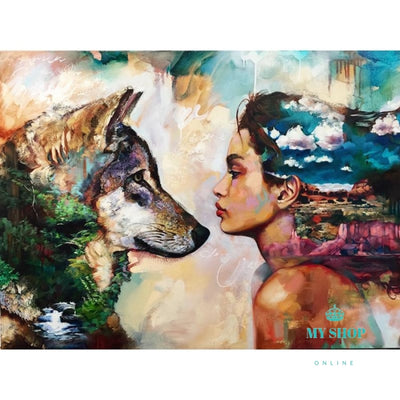 "Diamond 5D DIY Diamond Painting""A Girl And Her Wolf"" - myshoponline.com"