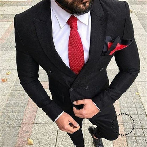 Double Breasted Black Men Suits for Wedding Groom Tuxedos Two Piece Slim Fit mens suit - myshoponline.com