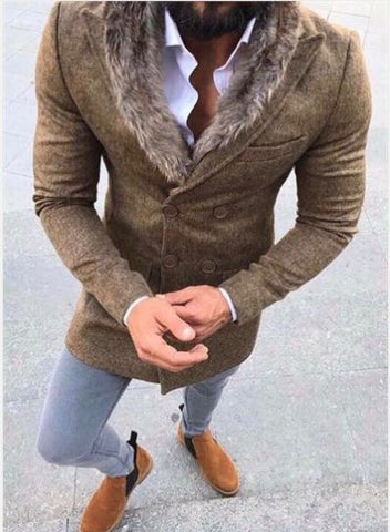 Men Wool Coat Winter Faux Fur Collar Warm Long Coats Men's Overcoat Trench Overcoat Fashion Patchwork Jacket Man