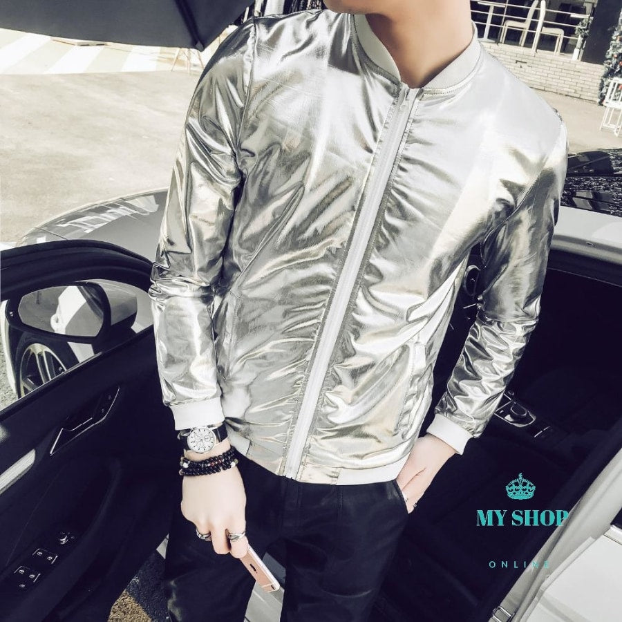 En Bomber Jacket Fashion 2018 Slim Fit Sun Protection Clothing Silver Shining Jackets Mens Plus Size
