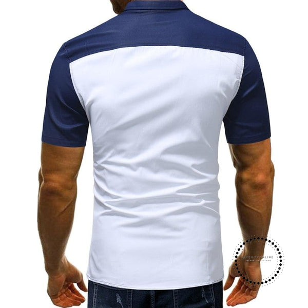 Envmenst Cotton Male Casual Slim Fit Shirts Mens Short Sleeve Pliad Designs Single Breasted Shirt