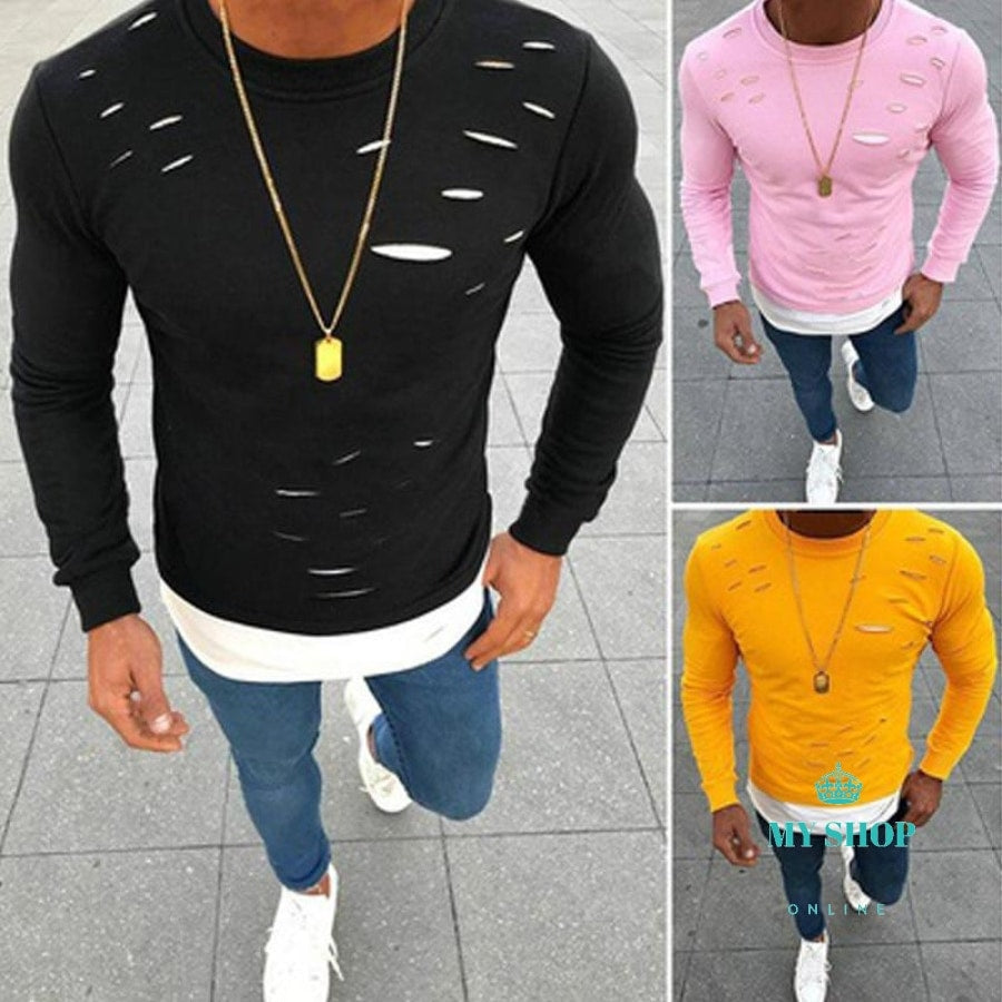 Fake Two Pieces Hole Irregular Mens T-Shirt Good Quality Patchwork Elastic Long Sleeve Accesorios