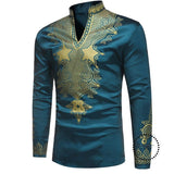 Fashion African Mens T-Shirt Rich Bazin Print Tops Shirt Dress Long Sleeve For Dresses Man Casual