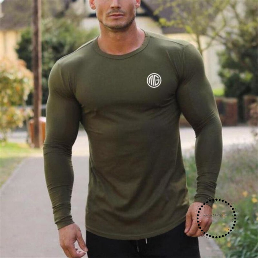ed8876ef741e Fashion Clothes Solid Color Long Sleeve Slim Fit T Shirt Men Cotton Casual T -Shirt ...