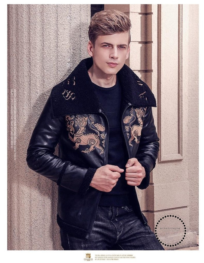 Fashion Male Mens Embroidery Leather Animal Pattern Short Style Man Pu Jacket Winter Coat