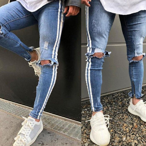 Fashion Mens Jeans Light Blue White Stripe Hip Hop Pants Skinny Men Destroyed Ripped