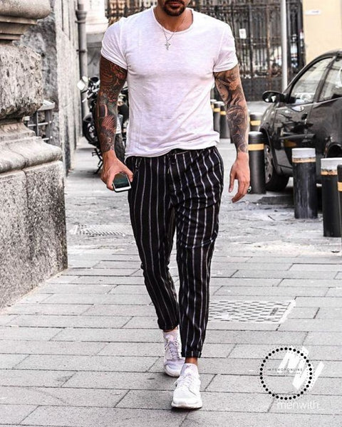 Fashion Mens Joggers Long Sweatpants Striped Ankle Pants Drawstring Skinny