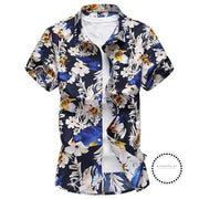 Fashion Mens Shirt Slim Fit Short Sleeve Floral Clothing Trend Casual Flower Shirts 05 Blue / 4Xl