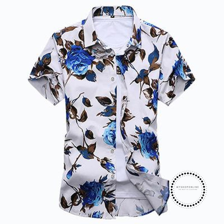 Fashion Mens Shirt Slim Fit Short Sleeve Floral Clothing Trend Casual Flower Shirts 14 Blue / 4Xl