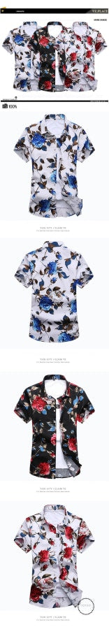 Fashion Mens Shirt Slim Fit Short Sleeve Floral Clothing Trend Casual Flower Shirts