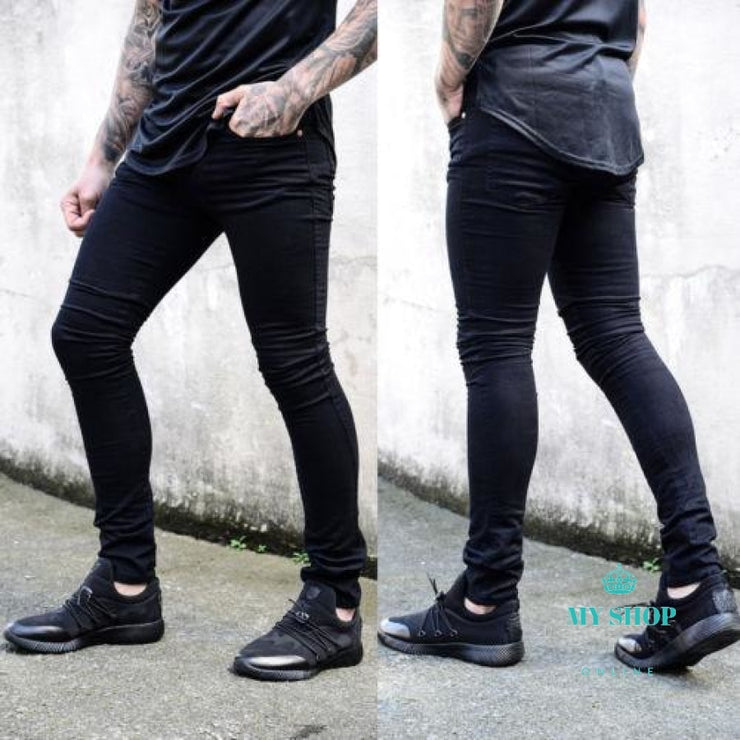 Fashion Pants Casual Jeans Mens Ripped Skinny Biker Destroyed Frayed Slim Fit Black/white / S