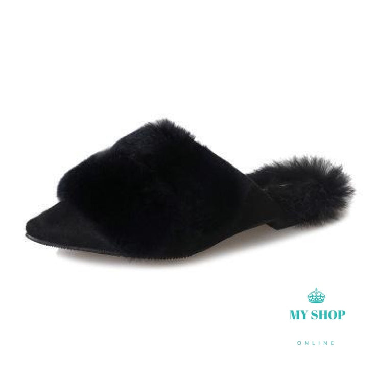 Fashion Pointed Toe Suede Flat Slippers Real Rabbit Hair Flip Flops Casual Women Shoes Fur Brown / 5