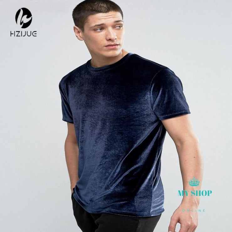 Fashion Short Sleeve Velvet Hip Hop T Shirt Blue / S Accesorios