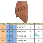 Fashion Women High Waist Suede Leather Skirts Irregular Short Mini Pack Hip Pencil Skirt Clothes