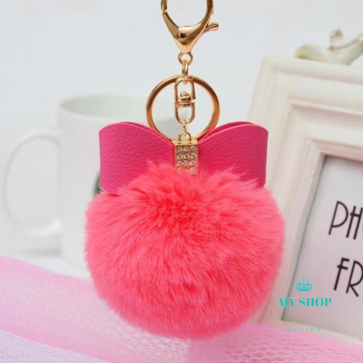 Faux Rabbit Fur Ball Bowknot Charm Car Keychain Handbag Key Ring Delicate Sep 27 - myshoponline.com