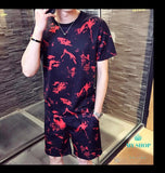 Feather Print Men Summer Jogger Sweatpant + T Shirt Fashion Party Club Prom Tracksuit Set