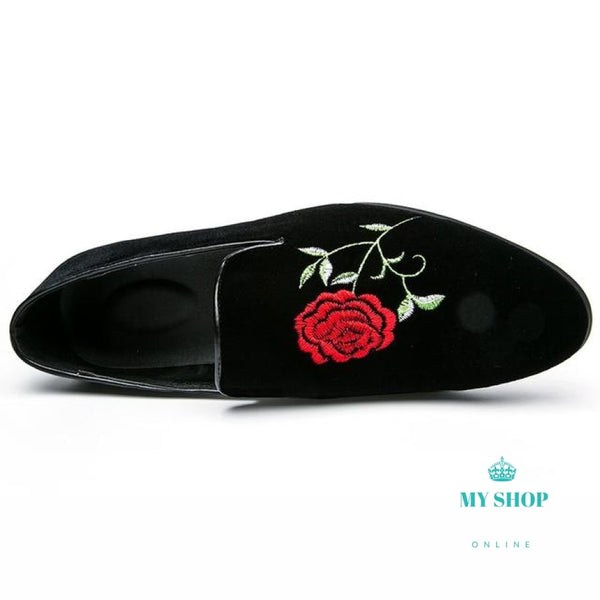 Flowers Embroidered Loafers Men Handmade Velvet Shoes Accesorios