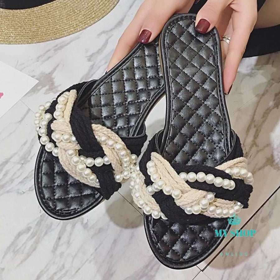 Footwear Women Slippers Flat Shoes Slip On Slides Beach Slipper Brand Pearl Weaving Diamond Sewing