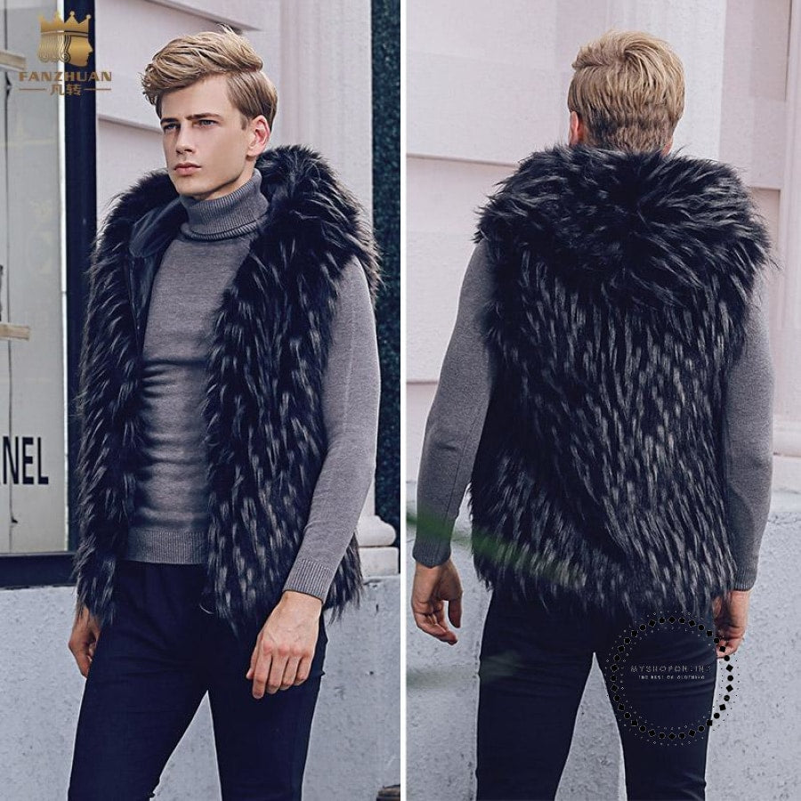 Free Shipping Fashion Casual Male Winter Mens Man Menswear Palace Hooded Plush Fur Coat Vest