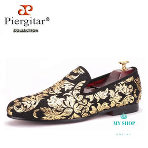 Gold Printing Men Loafers
