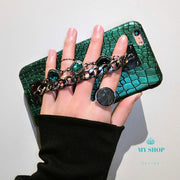 Green Sequins Crocodile Skin Case For Iphone Accesorios