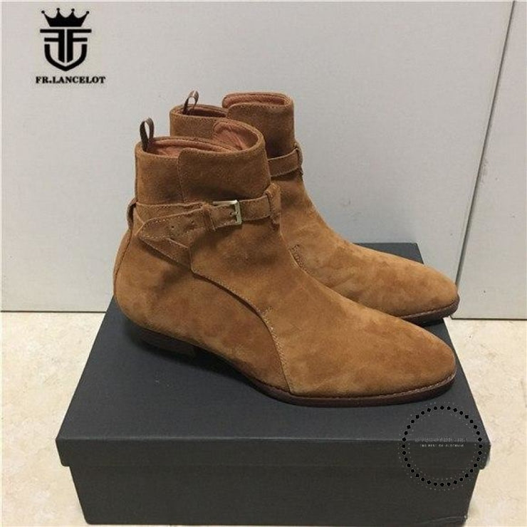 Handmade Brown Suede Genuine Leather Mens Chelsea Boots With The Strap Boots Street Luxury Brown / 6