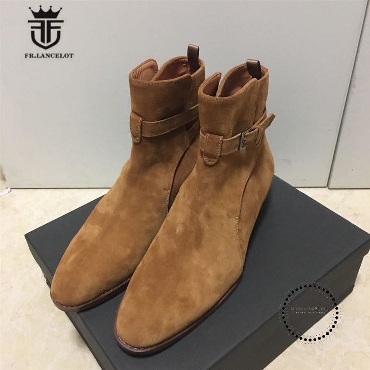 Handmade Brown Suede Genuine Leather Mens Chelsea Boots With The Strap Boots Street Luxury