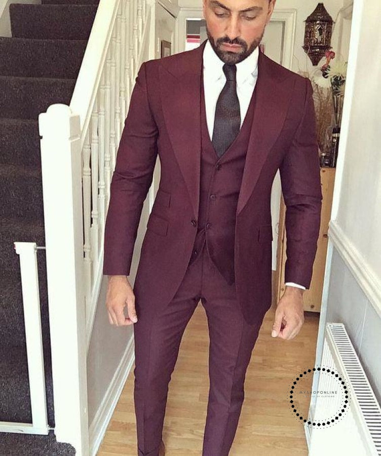 Wedding Suits For Abroad Groom: Handsome Terno Masculino Green Men Casual Suit Set Slim