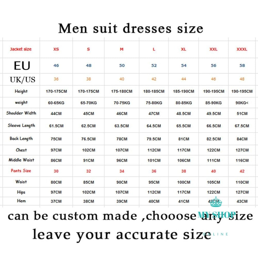 High Quality Mens Suits Groom Tuxedos Groomsmen Wedding Party Dinner Best Man (Jacket+Pants)