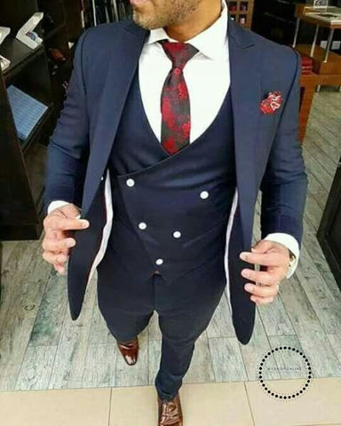 High Street Classic Mens Suits Wedding Fashion Custom Made Prom Masculino Trajes De Hombre Blazer 3