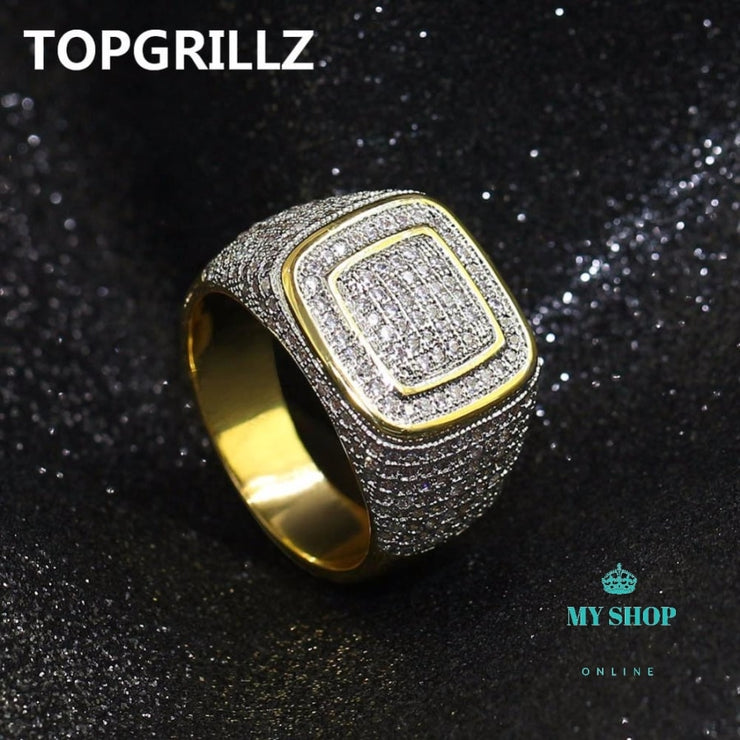 Hip Hop Ring All Iced Men Gold Accesorios