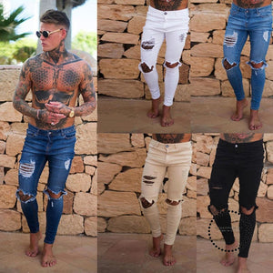 Hole Jean Men Fashion Skinny Stretch Denim Pencil Pants Distressed Ripped Freyed Biker Slim Fit