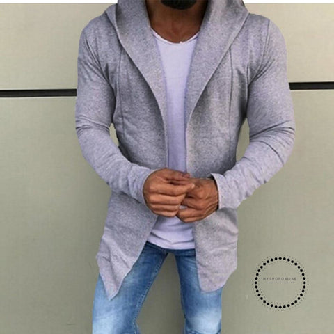 Hoodie For Mens Casual Solid Color Cardigan Slim Fit Hoodies Cotton Jacket Coat Gray / S
