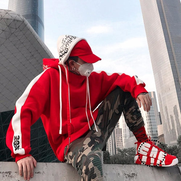 Hoodie Streetwear Hip Hop Red Black Double Hooded Hoody Mens Hoodies And Sweatshirts High Street