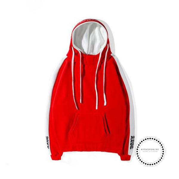Hoodie Streetwear Hip Hop Red Black Double Hooded Hoody Mens Hoodies And Sweatshirts High Street Red