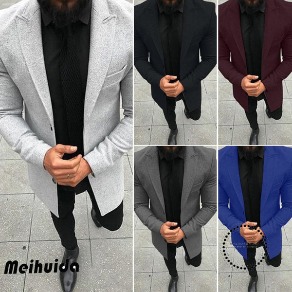 Jackets Fashion Men Wool Coat Winter Overcoat Gentlemen Single Breasted Outwear Long Sleeve Jacket