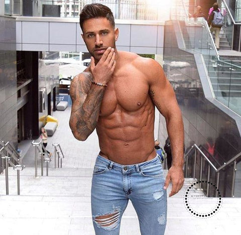 Best Jeans Men Slim Moto Biker Denim Jeans Skinny Stretchy Frayed Pencil Pants Distressed Ripped Troursers - myshoponline.com