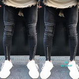 Jeans Men Slim Skinny Pants Distressed Rip Troursers Accesorios