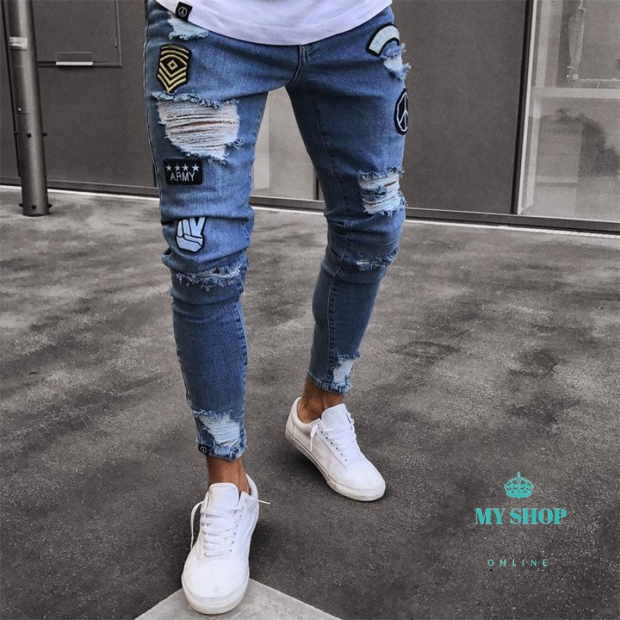 discount sale official store lowest discount JEANS MEN'S RIPPED SKINNY JEANS DESTROYED FRAYED SLIM FIT CASUAL