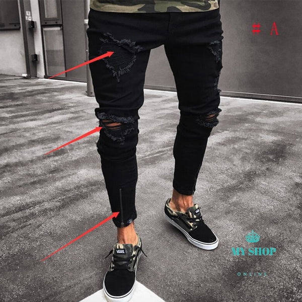 Jeans Mens Ripped Skinny Destroyed Frayed Slim Fit Casual Accesorios