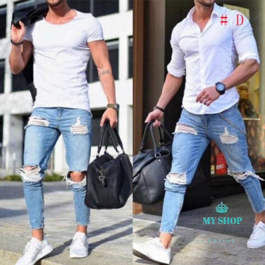 great deals san francisco select for original Jeans Men's Ripped Skinny Jeans Destroyed Frayed Slim Fit Casual